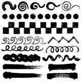 Brush stroke illustrations. handwritten shapes. Set of brush stroke illustrations Royalty Free Stock Photos