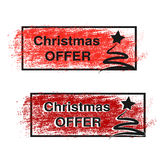 Brush stroke, labels with black symbols of Christmas tree, stickers for Christmas offer.  Stock Photography