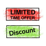 Brush stroke, labels of Limited Time Offer and Discount, red and green sticker. Rectangle stratched spot. Stock Photography