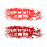Brush stroke, labels with white symbols of Christmas tree, stickers for Christmas offer.. Red and dark red stratched spot. - illustration Royalty Free Stock Photography