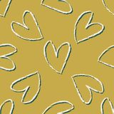 Brush Stroke Love Heart Tossed Seamless Vector Pattern. Hand Drawn Romantic Line Texture vector illustration