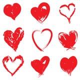 Brush stroke red hearts on white. Set of brush stroke hearts - vector illustration on white background Royalty Free Stock Photo