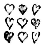 Brush stroke sketch drawing of hearts shape set to valentines da. Y isolated on white background, vector illustration collection Stock Photos