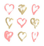 Brush stroke sketch drawing of hearts shape set to valentines da. Y isolated on white background, vector illustration collection Stock Images