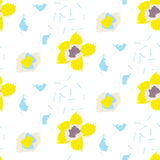 Brush stroke yellow bold florals seamless pattern. Brush stroke yellow bold florals vector seamless pattern. Rough white background with yellow flowers stock illustration