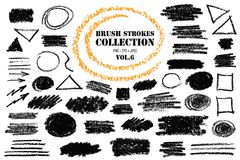 Brush Strokes Collection. Brush strokes with extra-dry texture similar to pencil. Painted grunge design elements. Vector text boxes. Distress backgrounds. Hand Royalty Free Stock Image