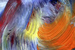 Brush strokes - craftsmanship. Extreme closeup of brush strokes - run colors - craftsmanship Royalty Free Stock Photo