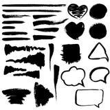 Brush strokes, hearts and bubbles. Various design elements, brush strokes, hearts and bubbles Royalty Free Stock Photos