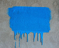 Brush strokes and paint drips. On the concrete wall Royalty Free Stock Photography