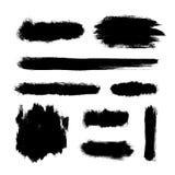 Brush strokes set, black hand paint streaks. Vector illustration Stock Photos