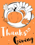 Brush strokes style Thanksgiving day card. Design Stock Photography