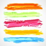 Brush strokes template. Set of colorful sketch stain Royalty Free Stock Images
