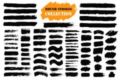 Brush strokes text boxes. Vector paintbrush set. Grunge design elements. Dirty texture banners. Ink splatters. Painted objects vector illustration