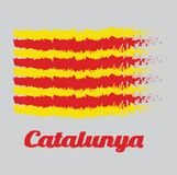 Brush style color flag of Catalonia, The red stripe on golden background. with text Catalunya. Brush style color flag of Catalonia, The red stripe on golden Royalty Free Illustration