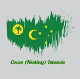 Brush style color flag of Cocos Keeling Islands, a palm tree on a gold disc, crescent and southern cross on green. With name text Cocos Keeling Islands Royalty Free Illustration