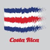 Brush style color flag of Costa Rica, blue red and white color. with text Costa Rica. Brush style color flag of Costa Rica, blue red and white color. with name Stock Illustration