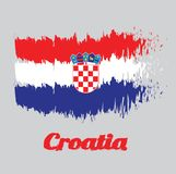 Brush style color flag of Croatia, red white and blue with the Coat of Arms of Croatia. With name text Croatia stock illustration