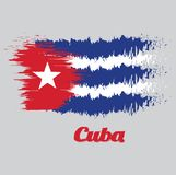 Brush style color flag of Cuba, blue and white with the red equilateral triangle and star. With name text Cuba Stock Illustration