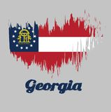 Brush style color flag of Georgia, Three stripes consisting of red, white, red. A blue canton containing a ring of 13 stars. Brush style color flag of Georgia vector illustration