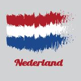 Brush style color flag of Holland, horizontal tricolor of red, white, and blue. With text Nederland royalty free illustration