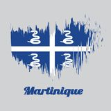 Brush style color flag of Martinique, Four white snake on blue field and white cross in the center. With text Martinique stock illustration