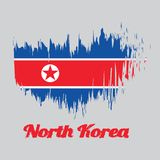 Brush style color flag of North Korea Flag, horizontal red white and blue, red star within a white circle. With name text North Korea royalty free illustration
