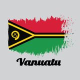 Brush style color flag of Vanuatu, with text Vanuatu. Brush style color flag of Vanuatu, red and green with black and yellow color boar`s tusk encircling two royalty free illustration