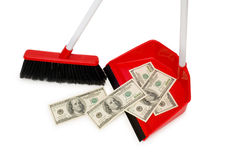 Brush sweeping dollars isolated Royalty Free Stock Image