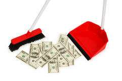 Brush sweeping dollars isolated Stock Photo