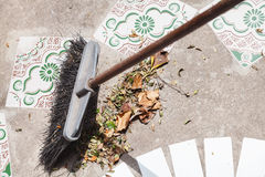 Brush sweeps fallen leaves Royalty Free Stock Photography