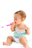 Brush the teeth. Baby Brush the teeth on white background Royalty Free Stock Photography