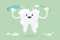 Brush the teeth. Dental cartoon vector, tooth is brush the teeth Stock Photography