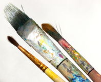 Brush for art. Three artistic brushes on white isolated background stock images