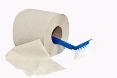 Brush and toilet paper Royalty Free Stock Photography