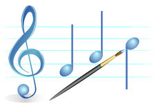 Brush, treble clef and notes Royalty Free Stock Photography