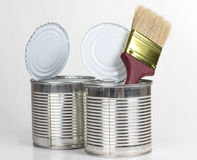 Brush in two metal can Stock Images