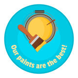 Brush up on the bank with colored paint - the top view. Sticker for sale paints Stock Photo