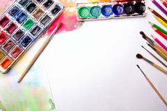 Brush with watercolor royalty free stock image