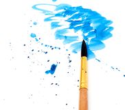 Brush With Blue Paint Stroke Royalty Free Stock Photos