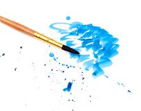 Brush With Blue Paint Stroke Royalty Free Stock Photography