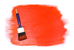 Brush With Red Paint Stock Images