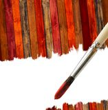 Brush and Wood Background with Copy Space Stock Photos