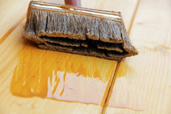A brush with wood preservative. To protect the coating of wood royalty free stock image