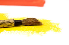 Brush on Yellow Paint Royalty Free Stock Photos