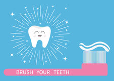 Brush your teeth. Tooth icon. Big toothbrush with toothpaste. Round line shining circle sparkle stars. Cute cartoon smiling character. Oral dental hygiene vector illustration