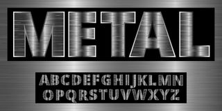 Brushed aluminum metal realistic font. Detailed metallic chrome alphabet typeset. Royalty Free Stock Image