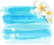 Brushed backgrounds with flowers. Blue colored. Background with abstract watercolor brushed lines and tropical plumeria flowers. Summer travel concept Stock Photo