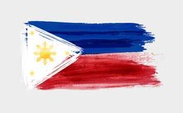 Brushed Flag of the Philippines. Grunge watercolor imitation brushed Flag of the Philippines. Pambansang Watawat ng Pilipinas.  Vector illustration Stock Images