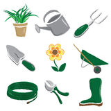 Brushed Gardening Icons Royalty Free Stock Photos
