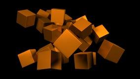 Brushed golden cubes Stock Photos
